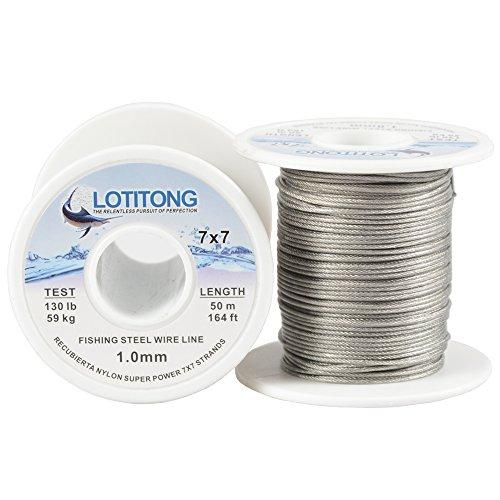 Lotitong - Cable de alambre de 50 metros para pesca de alambre de acero inoxidable con revestimiento de nailon 7 x 7 49 de acero inoxidable, 1.0mm 164ft 130 pound Test, diameter 1.0mm 164ft