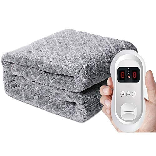 Nfudishpu Dual Controls Electric Blanket, Double Size Heated | 8 Heat Settings | Machine Washable | Memory Foam Compatible | Overheat Protection For bedroom