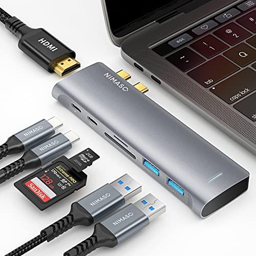 NIMASO Hub USB C MacBook Pro Air M1, 7 en 2 Adaptador USB C Hub a 4K HDMI, Thunderbolt 3 (PD 100W), USB C 3.0 & 2 * USB 3.0, Lector de Tarjeta SD/TF, Hub Tipo c para Macbook Pro/Air M1 2020/2019/2018