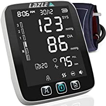 [All New 2020] Blood Pressure Monitor by LAZLE: Automatic Upper Arm Machine & Digital BP Cuff Kit - Largest Display - 200 Sets Memory, Includes Batteries, Carrying Case