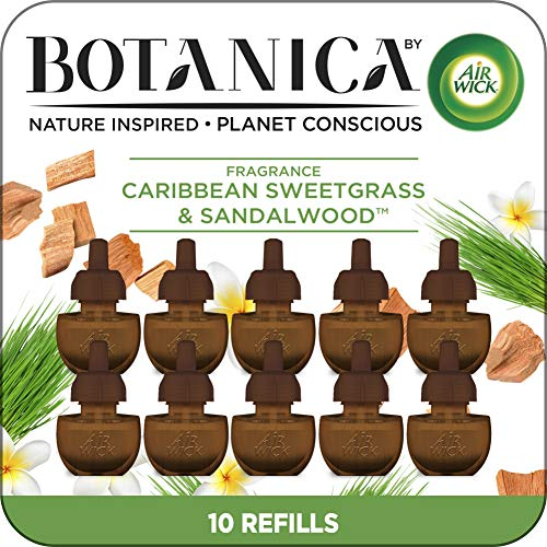 Air Wick Botanica Plug in Scented Oil, 10 Refills, Caribbean Sweetgrass and Sandalwood, Air Freshener, Eco Friendly, Essential Oils, 10 Count