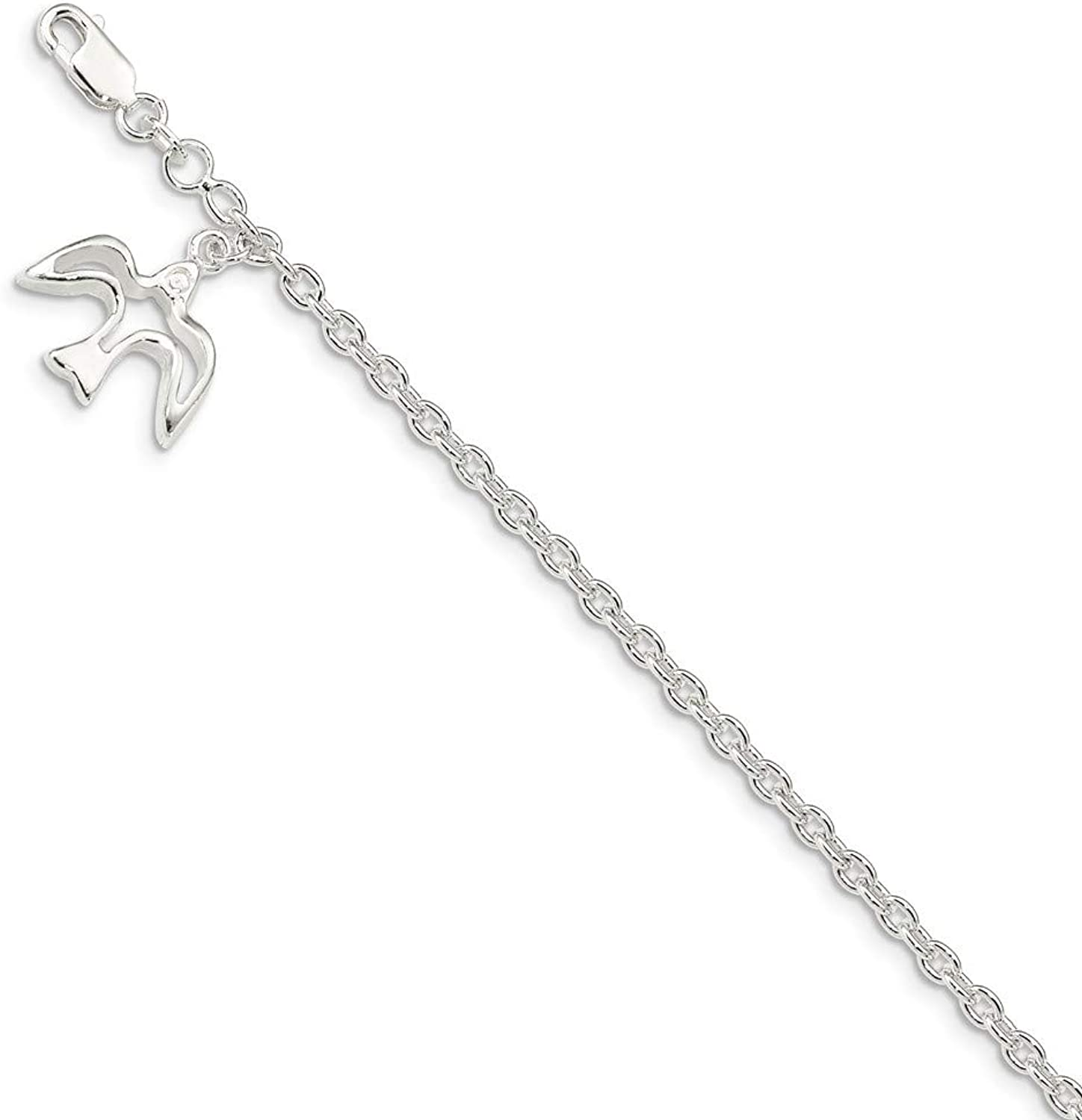 Beautiful Sterling silver 925 sterling Sterling Silver Dove Charm Bracelet
