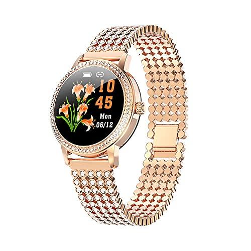 Reloj inteligente LW20 mujeres s acero inoxidable diamante tachonado Bluetooth pulsera moda deportes IP68 pantalla impermeable ritmo cardíaco D