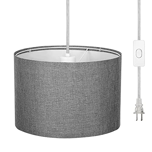 DEWENWILS Plug in Pendant Light, Hanging Lamp with 15ft Clear Cord, On/Off Switch, Gray Fabric Lampshade, Hanging Light Fixtures for Bedroom, Kitchen, Living Room, Dining Table