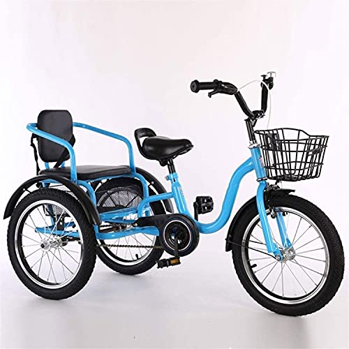 Triciclo per Adulti 16/18 Pollici Triciclo per Bambini in Acciaio al Carbonio in Acciaio al Carbonio in Acciaio per Bambini Doppio Sedile A Tre Ruote da Crociera Bici con Sedi(Size:18inch,Color:Blu)