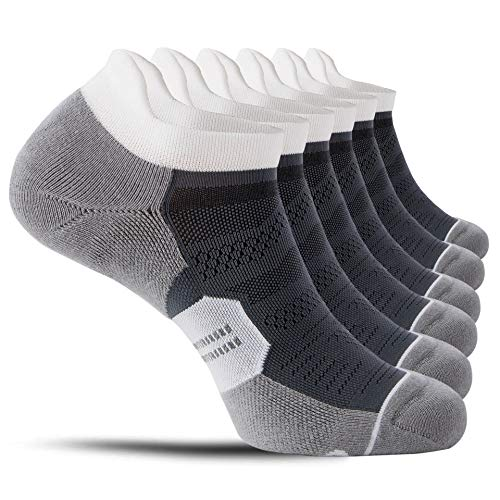 CelerSport 6 Pack Running Ankle Socks for Men and Women with Cushion, Low Cut Athletic Sport Tab Socks, Grey, Large