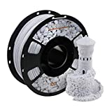 OVERTURE Rock PLA Filament 1.75mm, Marble PLA Roll 1kg Spool (2.2lbs), Dimensional Accuracy +/- 0.05 mm, Fit Most FDM Printer (Rock White)