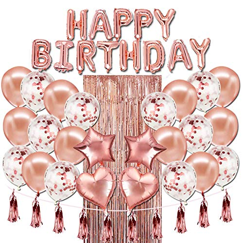 Rose Gold Birthday Celebration Party Decoration Set - Birthday Party Supplies - Happy Birthday balloon Banner, Pink Foil Curtain, and Tassel Garland, Heart and Star Shaped Balloons with Mini Hand Pump