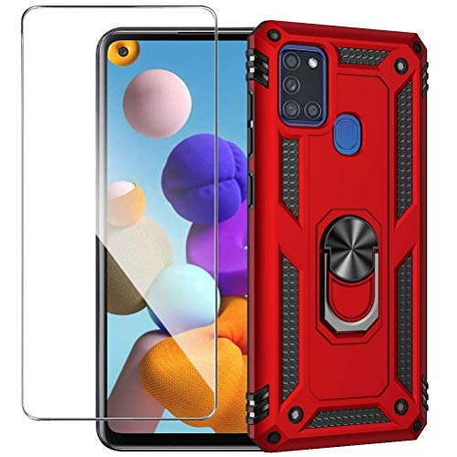 Funda de teléfono resistente para Samsung Galaxy A21S con protector de pantalla, a prueba de golpes magnético con función atril