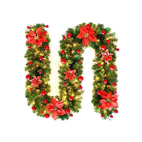 OurLeeme Guirnalda de Navidad con luz, 2,7 m Guirnalda De Pino Artificial Flor De Navidad con Luz para La Decoración del Hogar,Rojo