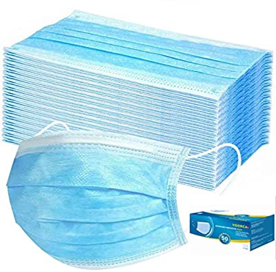 50 Pieces Disposable 3-ply Protection Face Cover Dust-proof Dust Waterproof Cover, High Filtration and Ventilation Security by Tukellen