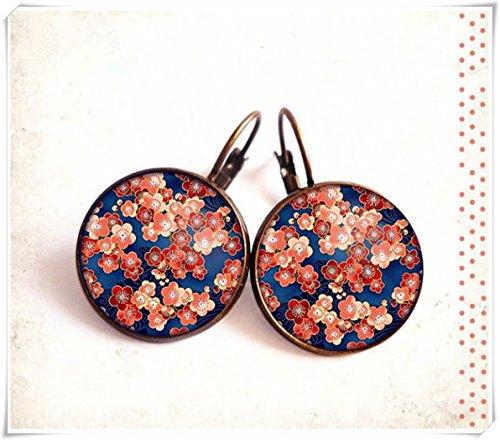 Elf House - Pendientes de tuerca de cabujón • azul • rojo rosa cerezo Blossom Sakura, cúpula de cristal, puro hecho a mano