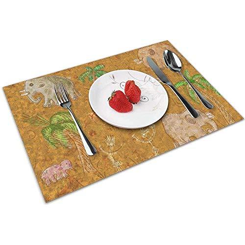Tovagliette per mammut astratte illustrazione arte set di 6 per tavolo da pranzo tovagliette antiscivolo termoresistenti per tavoli da cucina facili da pulire 45x30 cm