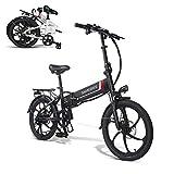 SAMEBIKE 20 Zoll Elektrofahrrad mit 350 W 48 V 10 Ah Lithiumbatterie Faltbares Elektrofahrrad E-Bike für Erwachsene (schwarz)