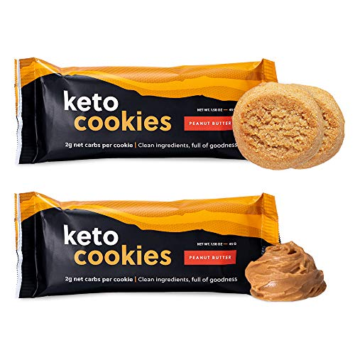 Perfect Keto Cookies - Low Net Carb Snacks & Sweets, No Added Sugar and Gluten-Free Cookies – Keto Food for Healthy and Keto-Friendly Diet - 12 Pack (24 Count), Peanut Butter