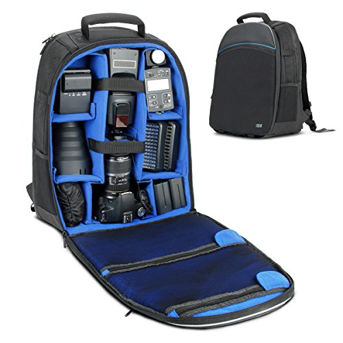 USA Gear Digital SLR Camera Backpack - Includes Laptop Compartment, Large Lens Storage and Weather Resistant Bottom - Compatible with Canon, Nikon, Sony, Pentax and More DSLR Camera Backpacks