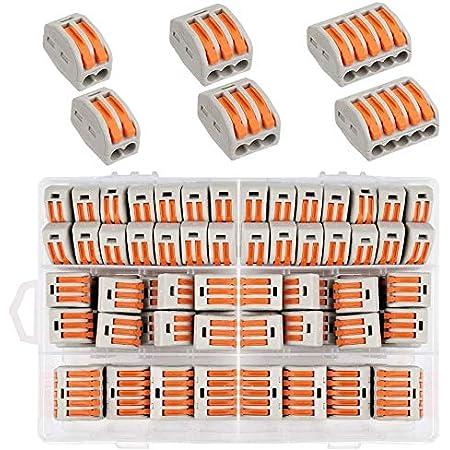 Connecteur de Fil Compact ,60pcs Borne de Connexion,Connecteur d'écrou de levier Conducteur Compact Fil Connecteurs 30pcs 2 Entrées, 20pcs 3 Entrées,10pcs 5 Entrées