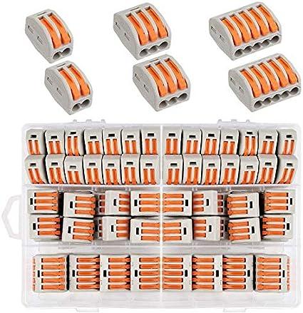 Conectores de Cables Compactos,60Pcs 1/2/3/5 Puerto ,Bloques de Conectores Eléctricoss,Conectores Eléctricos Rapidos,Abrazadera de Alambre Conductor