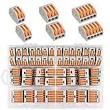Morsettiere elettriche,60 Pezzi Connettori per cavi compatti,connettori a lev,Leva Connettore cavo elettrico Kit 30 Morsetti a 2 vie,20 Morsetti a 3vie,10 Morsetti a 5 vie