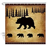 JAWO Animal Black Bear Shower Curtain, Rustic Cabin Wildlife Design, Mother Bear and Four Cute Baby Bears Bathroom Accessories Shower Curtains Fabric, 69x70 Inches
