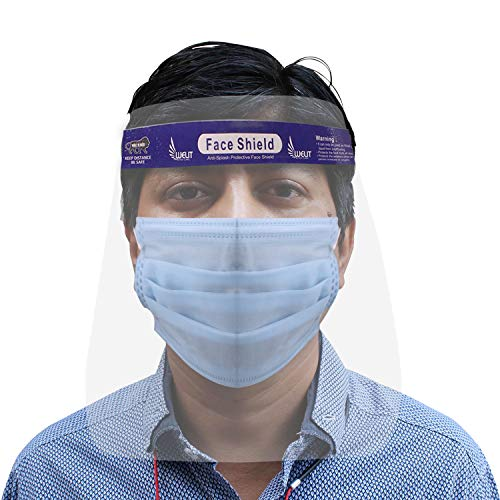 AllExtreme ORFSN01 350 Micron Disposable Face Shield with Adjustable Elastic Strap Anti-Splash Single Use Protective Facial Cover Transparent Full Face Visor with Eye & Head Protection (5 PCs)