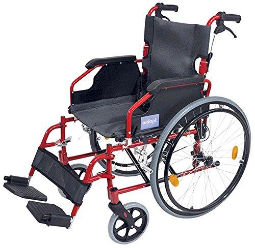 Aidapt VA165RED Deluxe Leichtgewichtiger Rollstuhl aus Aluminium, orange