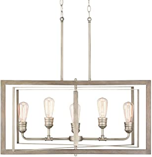 Palermo Grove 5-Light Antique Nickel Linear Chandelier with Painted Weathered Gray Wood Accents