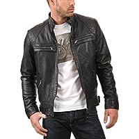 Trendtales Chaqueta de Cuero para Hombre, Piel de Cordero, Negro TTKL738 L