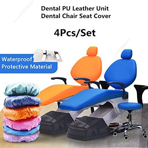 D&F 4 Teile/Satz Elastische wasserdichte Schutzhülle PU-Leder Dental Stuhl Sitzbezug Kopfstütze Rückenlehne Schutz Zahnarzt Ausrüstung,Grün