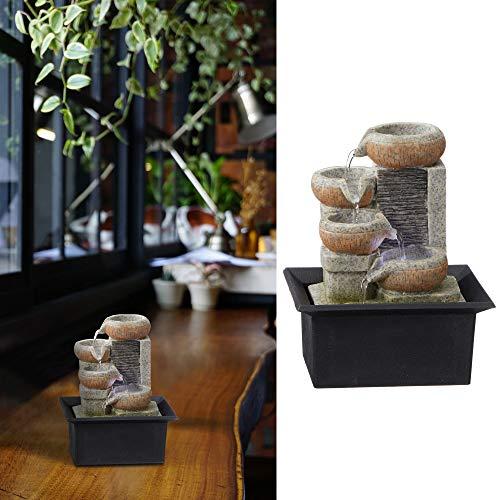 Zimmerbrunnen mit Beleuchtung │in Steinoptik Höhe 20 cm │Feng Shui Design │Springbrunnen mit Pumpe (1 x LED Brunnen Design2)