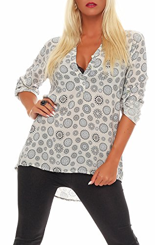 Malito Damen Bluse mit Print | Tunika mit ¾ Armen | Blusenshirt auch Langarm tragbar | Elegant - Shirt 6703 (beige)