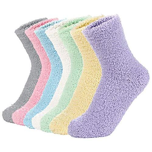 Century Star Damen-Socken, flauschig, gemütlich, warm, super weich, Mikrofaser, 3–8 Paar - - Einheitsgröße