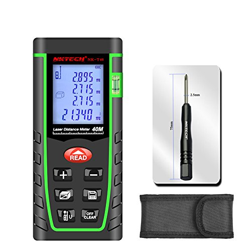 NKTECH Medidor de distancia láser telémetro láser buscador de rango 40 m 60 m 80 100 m NK-T40 probador automático MAX/MIN m pies pulgadas medida volumen Pitágoras regla eléctrica herramientas