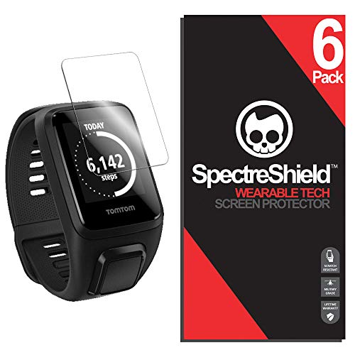 [6-Pack] Spectre Shield Screen Protector for TomTom Spark 3 Case Friendly TomTom Spark 3 Screen Protector Accessory TPU Clear Film