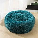 Generic Weiches Plüsch-Haustierbett, leicht zu reinigen, EIN kleines Nest für Katzen und Hunde See Blau XS