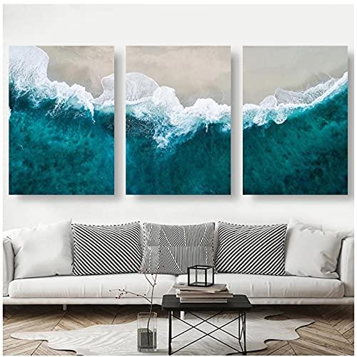QIAOZ Arte de Pared, Playa con Cartel de Paisaje de Agua de mar, Lienzo Minimalista Abstracto, Pintura sin Marco