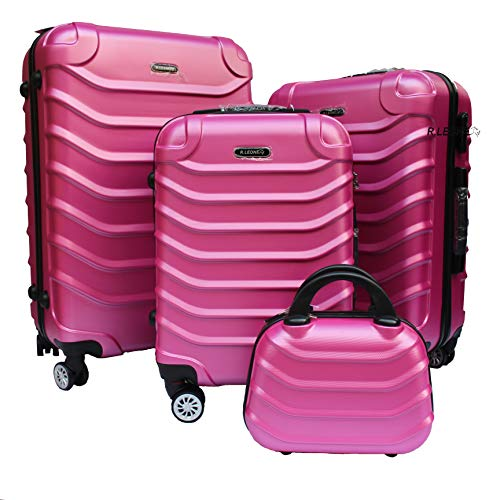 R.Leone Valigia da 1 pezzo Fino a Set 4 Trolley Rigido grande, medio, bagaglio a mano e beauty case 4 ruote in ABS 2026 (Rosa, XS Beauty case)