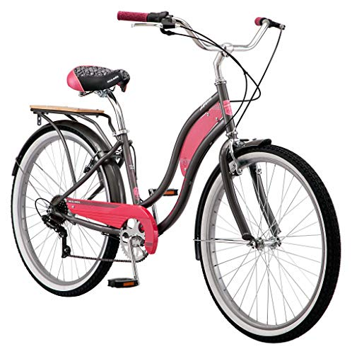 Kulana Lakona Tide Adult Beach Cruiser Bike, 26-Inch Wheels, 7-Speed, Gray/Pink (R7317AZ)