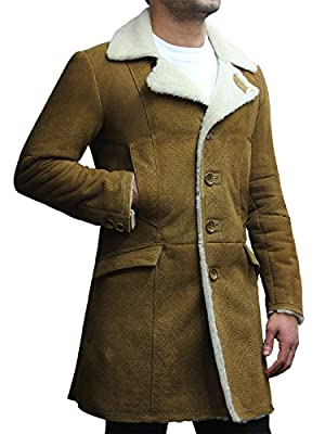 BRANDSLOCK Mens Luxury Spanish Merino Fur Sheepskin Belted Pea Coat Long Duffle Coat Ideal for Winter (L, Tan)