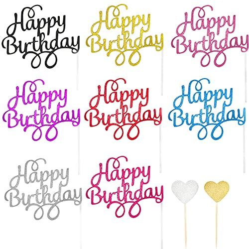 44 PCS Decoración para Tarta Cumpleaños, 8 Colores Happy Birthday Cake Topper, Cupcake Toppers de Corazón Brillante, con 24 Barritas y 20 Pegamentos, Gsorpresa para Niños Adulto Fiestas
