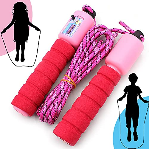 ELKHERBA® - Springseil Kinder mit Zähler, Speed Rope, Fitness Springseil, Speed Jump Rope mit Schaumstoffgriff, Springseil mit Zähler, Verstellbarer Springseil, Springseil für Kinder (Pink)
