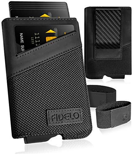 FIDELO minimalistische Geldbörse für Herren – schlankes Kreditkartenetui RFID Herren Geldbörse und Lederetui - Schwarz - Einheitsgröße