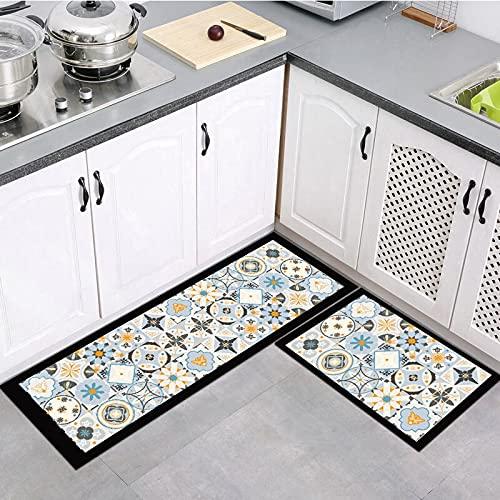 OPLJ Serie de impresión Retro Alfombra de Cocina Alfombra de Puerta de Entrada Baño Lavandería Sala de Estar Alfombra de Tira de Piso Alfombra A16 60x90cm