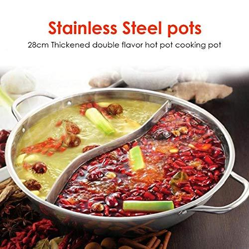 Verdicken Mandarin Ente Hot Pot Langlebiger Edelstahl 28Cm Einschichtige Suppe Fondue Pot Binaurales Küchenkochgeschirr