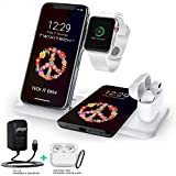 TWIXITECH Wireless Charger 4 in 1 Charging Station for Apple products-Apple Watch 6 SE 5 4 3 2 AirPods Pro/2 iPhone 12/11/Pro Max/X/XS/XR/8 Plus Qi Phones,Fast Charging Stand Dock(INC 9V/3A AD)(WHITE)