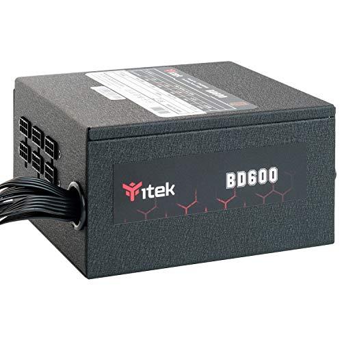 Itek Alimentatore per PC BD600-600 Watt, Ventola HDB Hydraulic Dynamic Bearing da 12 mm, Protezione PFC attiva, Convertitore Switching DC to DC, Certificazione di efficienza 80 Plus Bronze