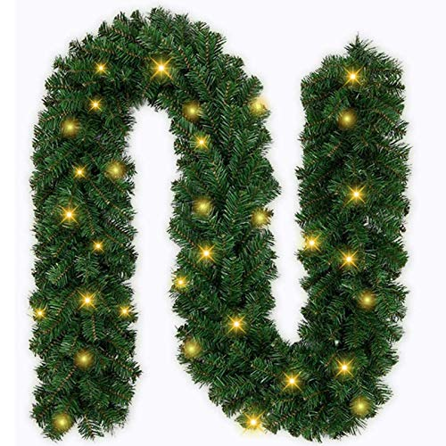 Ricdecor Christmas Garland with Lights 9 Foot Outdoor Christmas Garland for Mantle Christmas Garland Greenery Christmas Garlands Cleanrance