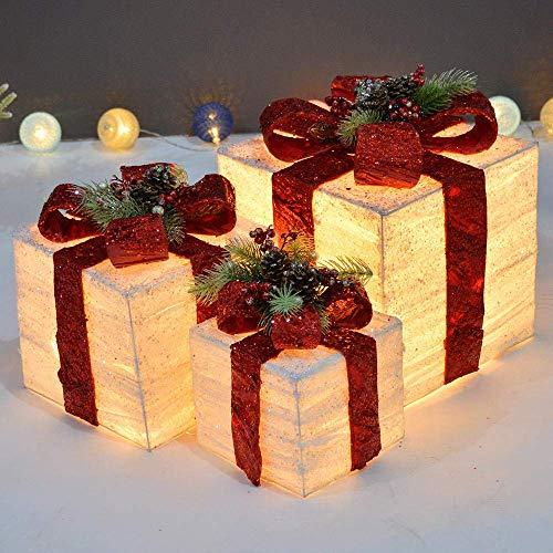 Set di 3 scatole Regalo Natalizie Luminose a LED Set di pacchi Natalizi Colorati in Ferro Decorativo Luci Bianche Calde a Batteria Decorazione per Interni per Interni -Bianco