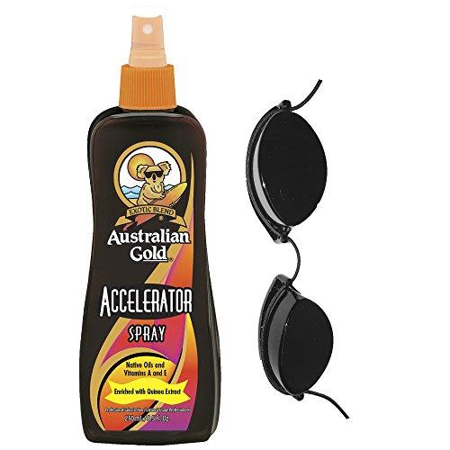 Acelerador de bronceado de Australian Gold, en aerosol, bronceado oscuro, incluye gafas para cama solar