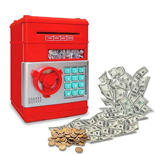 HeQiao Hucha electrónica para niños, caja de ahorro de dinero con contraseña, caja de dinero digital para niñas (rojo)